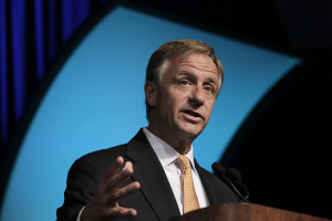 Bill Haslam, governor of Tennessee, speaks during the Center for Automotive Research (CAR) Management Briefing seminar in Traverse City, Michigan, U.S., on Thursday, Aug. 9, 2012. The CAR Management Briefing Seminar is an annual gathering of more than 900 auto industry, academic and government leaders addressing issues and emerging trends. Photographer: Jeff Kowalsky/Bloomberg via Getty Images